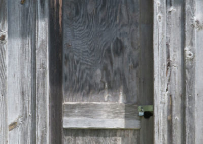 green grass in front of an antique, wooden barn door